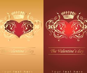 Valentine crown background 2 vector