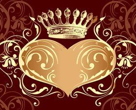 Valentine crown background 4 vector