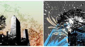 Abstract urban buildings background 2 design vectors