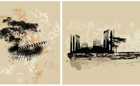 Abstract urban buildings background 4 design vectors