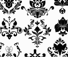 Damask Floral Elements vector design