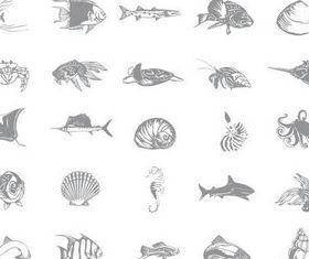 Marine Inhabitants shiny vector