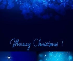 Bright blue christmas background set vector