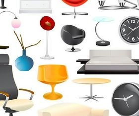 Modern Office Furniture vectors graphic