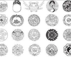 Chinese Circle Symbols vector