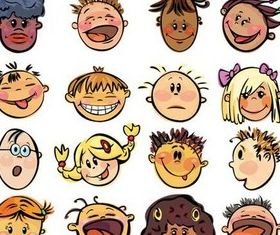 Childrens Emotions art set vector