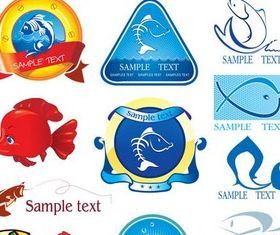 Fish Food Labels Illustration vector