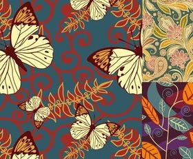 Beautiful Hand drawn leaves butterfly background vector