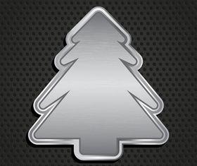 Metallic christmas tree background creative vector