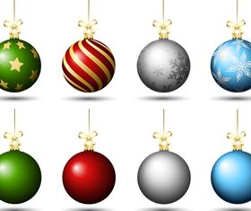 Colored christmas baubles set vector