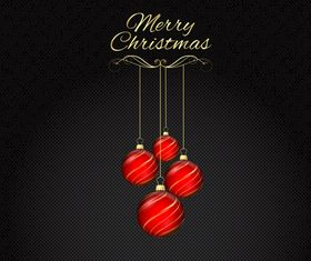 Christmas baubles and carbon fibre background vector