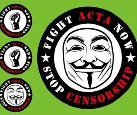 ACTA SOPA Badges vector