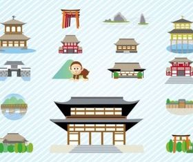 Japanese Architecture set vector