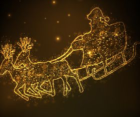 Golden Christmas carriage vectors material