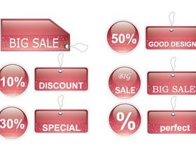 Red glass tags 1 vector