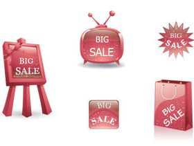 Red glass tags 2 vector