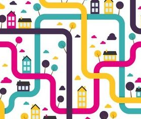Cartoon city patterns vector graphic