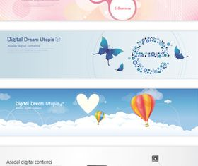 Abstract banners set 1 vector design