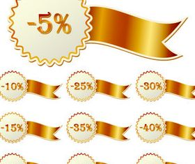 Golden discounts tags vector