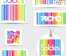 Color Barcode soldes labels vectors graphic