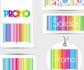 Color Barcode promo labels vector graphic