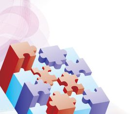 3D puzzle background vector graphics