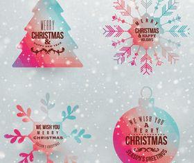 Christmas elements labels 1 vector