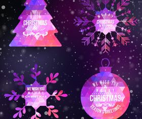 Christmas elements labels 2 vector