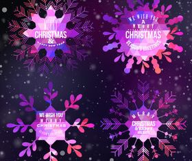 Christmas snowflake labels vector