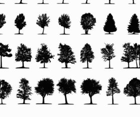 Different tree silhouette vector