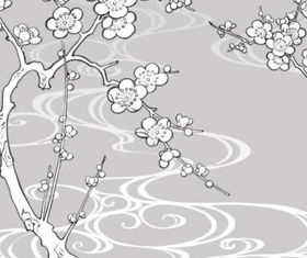 Hand drawn white Plum vectors graphics