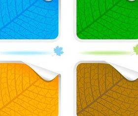 Leave Texture Stickers vector graphic