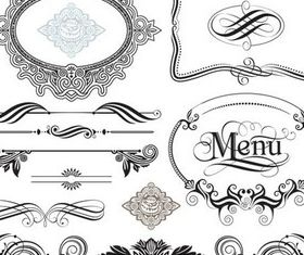 Swirl Ornament Frames set vector