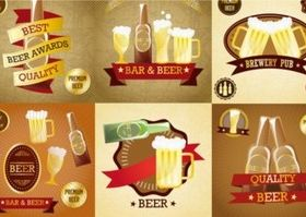 Creative beer label vector