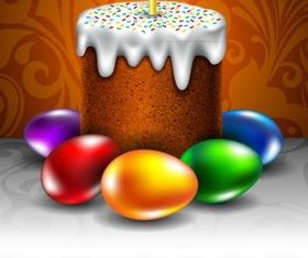 Easter egg with cake vector