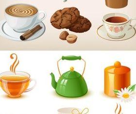 Bright cartoon coffee drinks vector