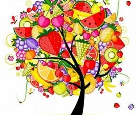 Color creative fruit tree vector graphics