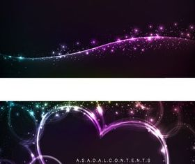 Heart-shaped neon light effect background vector graphics