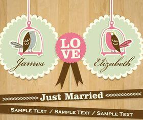 Cute wedding cards vector