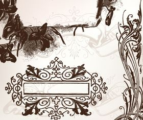 Hand-draw floral frame 1 vector