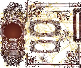 Hand-draw floral frame 2 vectors