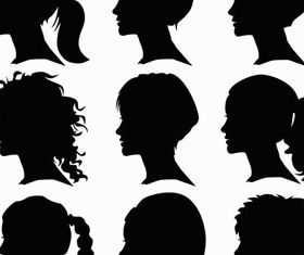 Female Heads set vector