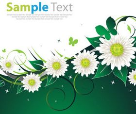 White flower background vector set