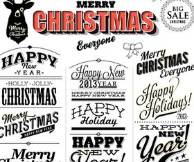 Christmas text logos 2 vector