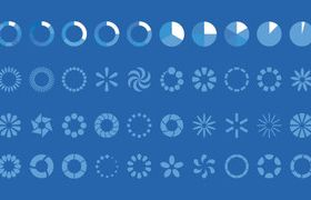 Loading icons set vector material