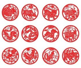 Zodiac paper-cut vector set