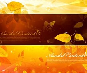 Dream golden leaves banner background vector graphics