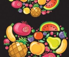 Colorful fruit design elements vector