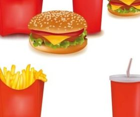 Hamburger with French fries and Drinks vector