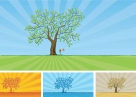 trees and grass design vectors